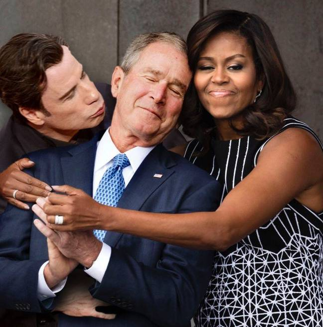 Détournement de la photo de Michelle Obama et George W. Bush.