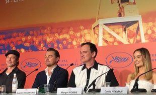 Brad Pitt, Leonardo DiCaprio, Quentin Tarantino et Margot Robbie à la conférence de presse de «Once Upon A Time...In Hollywood»