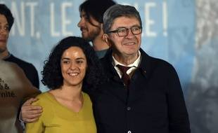 Manon Aubry, tête de liste de LFI pour les européennes, et Jean-Luc Mélenchon.