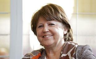 """La maire de Lille, Martine Aubry, lors de la présentation de """"Renaissance"""", le 11 décembre."""