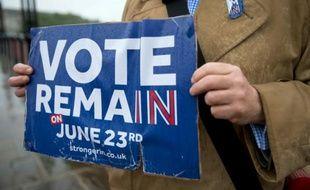 Un opposant au Brexit tient une pancarte à Londres, le 20 juin 2016