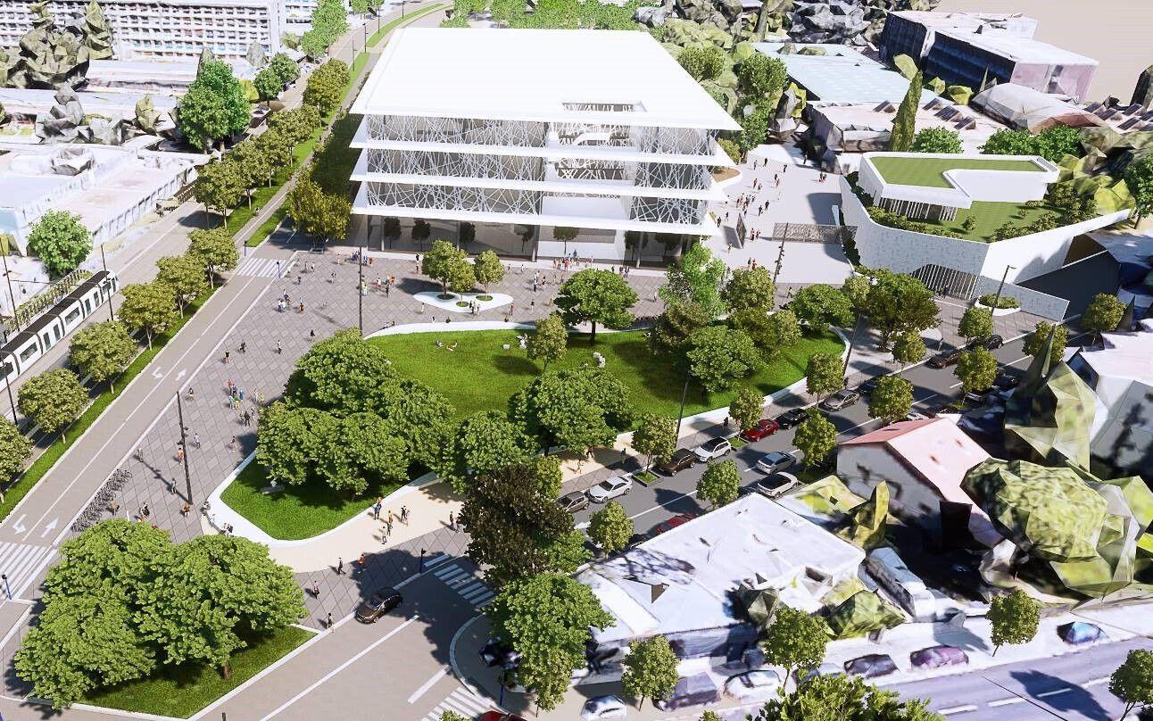La place de la Voie Domitienne proposera de larges espaces pour les vélos et les piétons près de la faculté de lettres