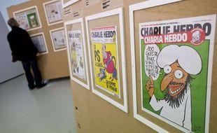 L'exposition dédiée à Charlie Hebdo lors du Festival de BD  d'Angoulême 2015