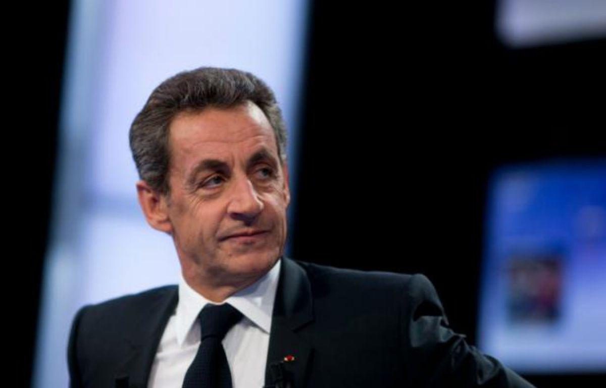 """Le chef du parti Les Républicains, Nicolas Sarkozy, le 4 février 2016 sur le plateau de """"Des paroles et des actes"""" à Paris – KENZO TRIBOUILLARD AFP"""