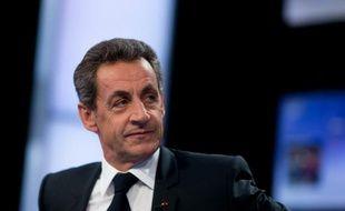 """Le chef du parti Les Républicains, Nicolas Sarkozy, le 4 février 2016 sur le plateau de """"Des paroles et des actes"""" à Paris"""