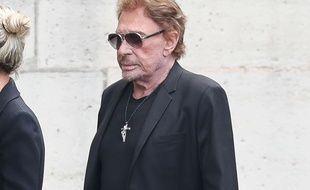 Johnny Hallyday, le 1er septembre 2017, à l'enterrement de Mireille Darc.