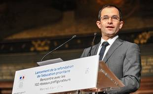Benoît Hamon, ministre de l'Education nationale, le 9 avril 2014 à La Sorbonne.