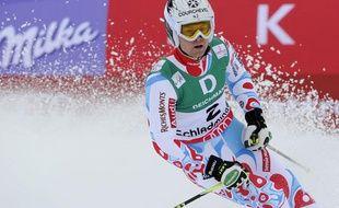 Alexis Pinturault à l'arrivée de la deuxième manche du géant des Mondiaux de Schladming le 15 février 2013.