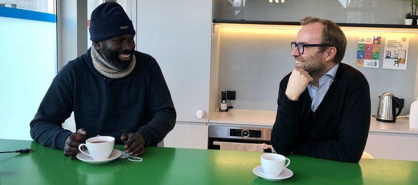 Le 14 janvier 2021, Souleymane et Pierre-Yves Laec, dans les locaux de Nobilito à Nantes