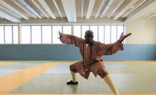 Maître Dominique Saatenang enseigne le kung-fu traditionnel Shaolin à Paris 18e. Le 31 août 2018.