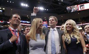 Les enfants de Donald Trump: Donald Jr, Ivanka, Eric et Tiphany, le 19 juillet à la convention.