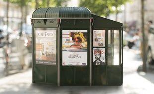 La version finale du futur kiosque parisien qui remplacera à partir de l'été prochain les 360 kiosques à journaux présents sur l'espace public parisien.