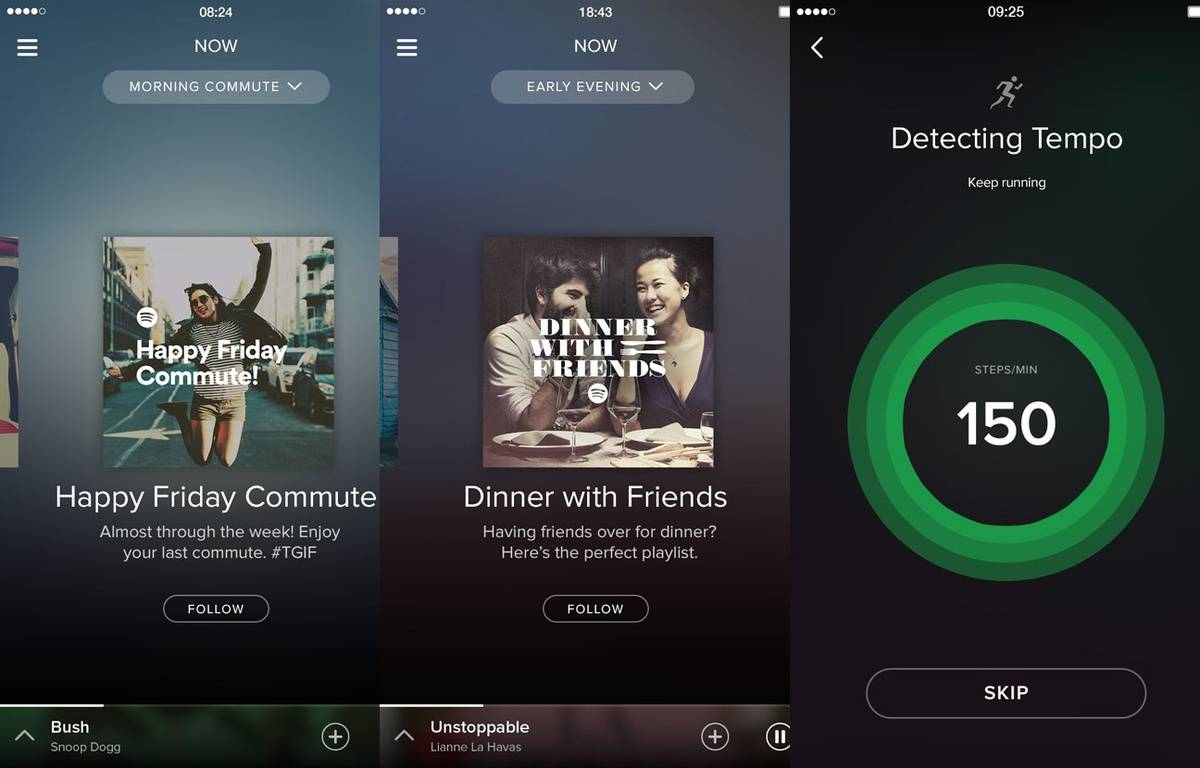 Captures d'écran de Spotify Now et de Spotify Running. – Spotify