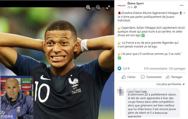 Une publication Facebook attribue à Zinédine Zidane des propos mensongers à l'encontre de Kylian Mbappé (Capture d'écran)
