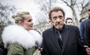 Johnny Hallyday et son épouse Laeticia en 2015