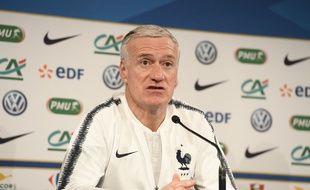 Didier Deschamps en conférence de presse, le 22 mars 2018.