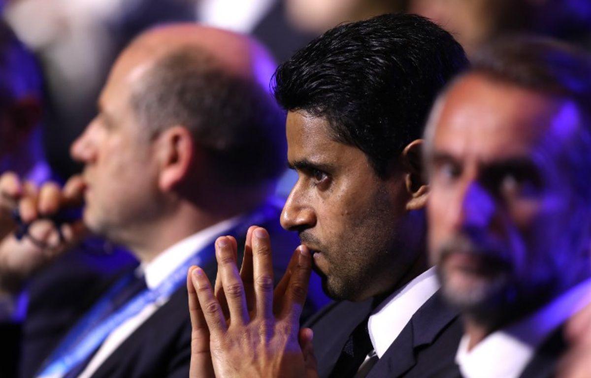 Nasser Al-Khelaïfi, le président du PSG, lors du tirage au sort de la Ligue des champions, le 24 août 2017.  – VALERY HACHE / AFP