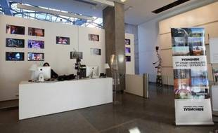 L'entrée des locaux de TV5Monde, le 7 février 2012 à Paris