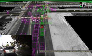Ce que voit une voiture autonome de Google.
