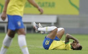 Neymar s'est blessé à la cheville lors du match amical du Brésil face au Qatar, le 5 juin 2019.