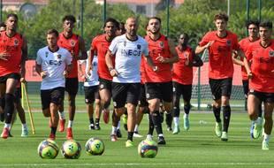 Les joueurs de l'OGC Nice pendant un entraînement fin juillet 2021 (Illustration)
