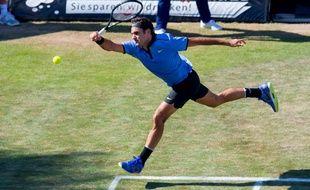 Roger Federer a été battu par Tommy Haas au premier tour du tournoi de Stuttgart, le 14 juin 2017.