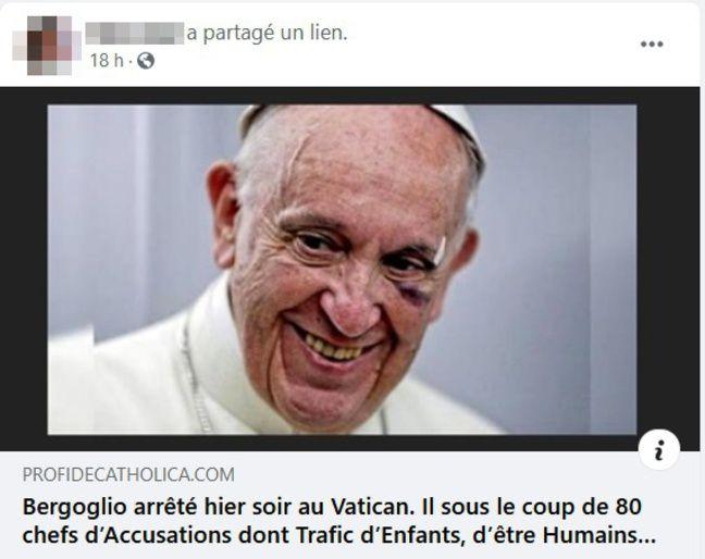 D'après un article mensonger partagé sur les réseaux sociaux, le pape François aurait été arrêté au Vatican, samedi soir.