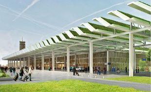 Image de synthèse de l'aérogare végétalisée du projet d'aéroport de Notre-Dame-des-Landes.