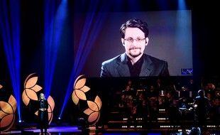 Edward Snowden en visioconférence, le 4 décembre 2019.