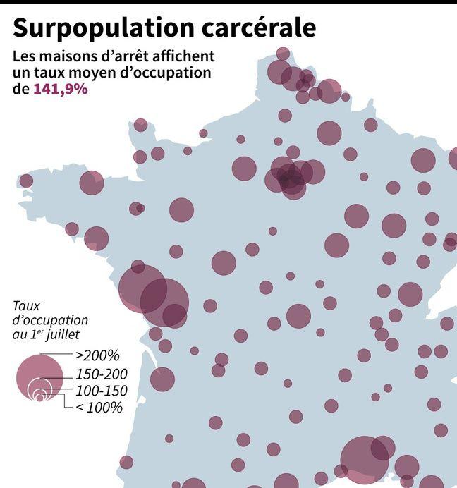 Carte de France des taux d'occupation des maisons d'arrêt en France.