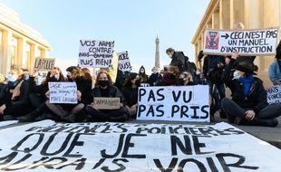Manifestants place du Trocadéro à Paris contre la proposition de loi