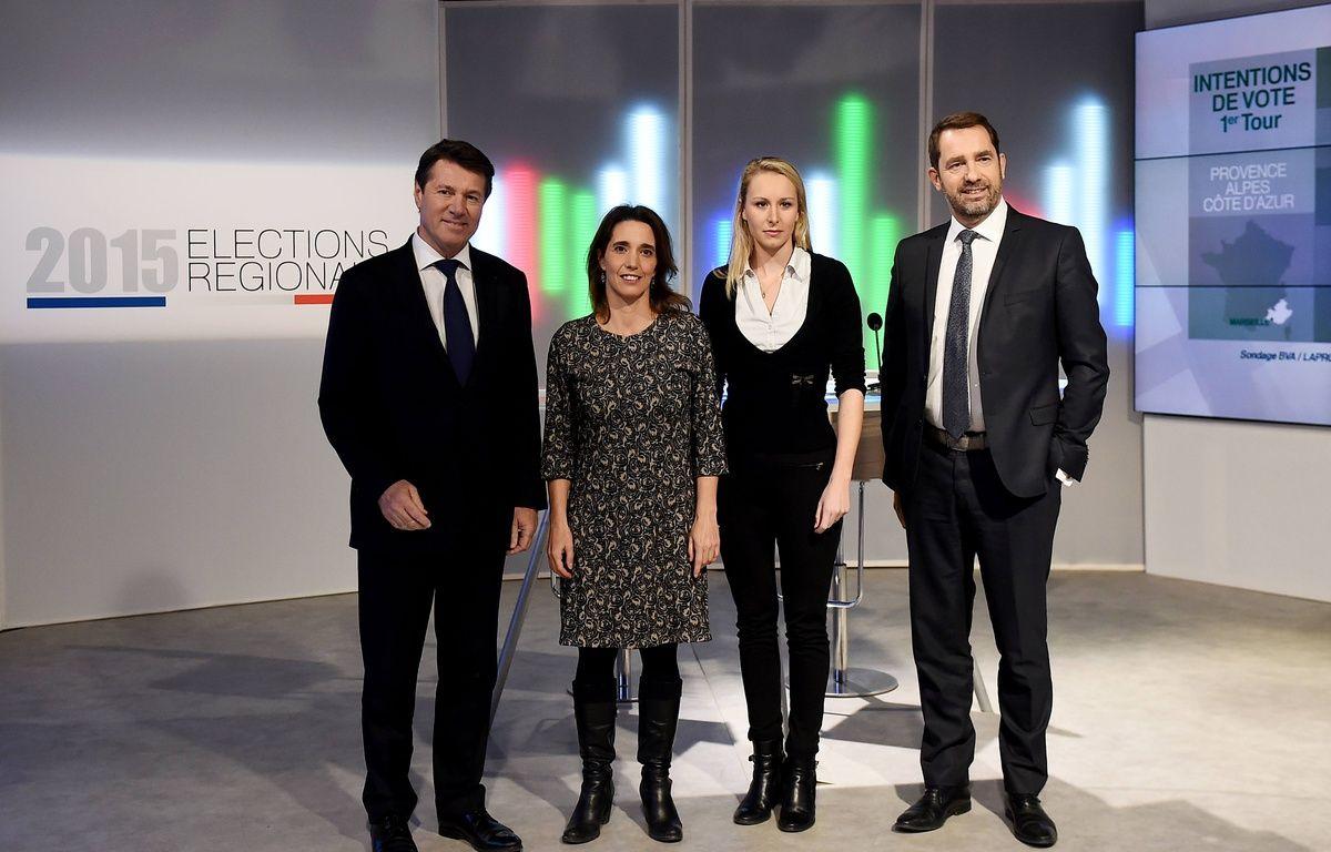 Les quatre principaux candidats aux élections régionales en PACA avant le débat sur France 3. – AFP