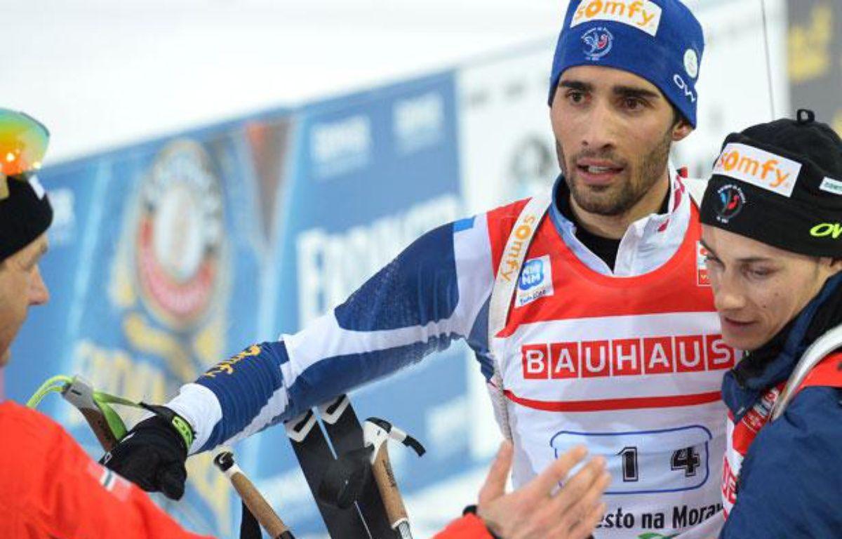 Martin Fourcade à l'arrivée du relais des Mondiaux de Nove Mesto le samedi 16 février 2013. – ALBERTO PIZZOLI / AFP