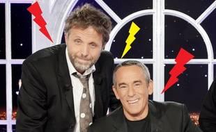 Stéphane Guillon et Thierry Ardisson sur le plateau de «Salut les Terriens!» en 2010.