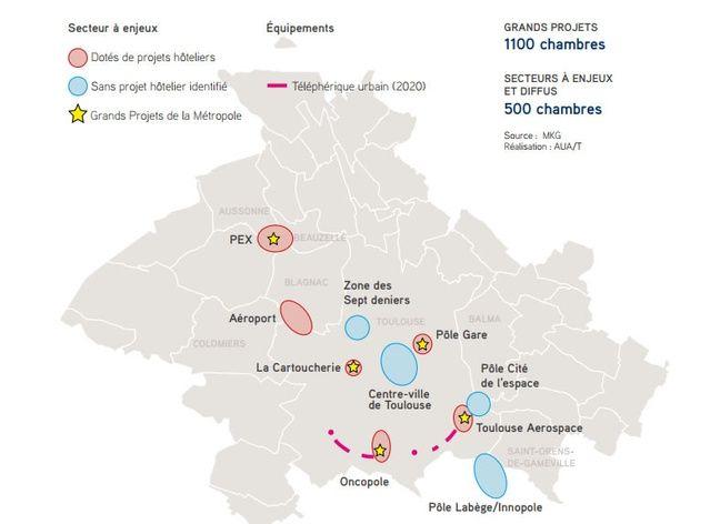 La carte des projets hôteliers dans la métropole de Toulouse.