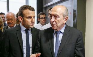 Emmanuel Macron et Gerard Collomb, ici à Lyon en février dernier. ROBERT PRATTA/POOL