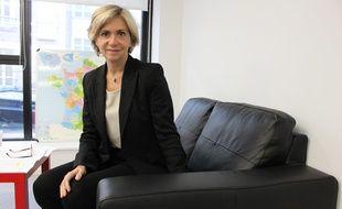 Valérie Pécresse, candidate UMP à la présidence de la région Ile-de-France, le 28 avril 2015, au siège de l'UMP, rue de Vaugirard.