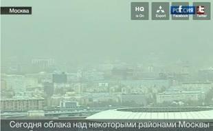 Capture d'écran de la télévision russe, montrant le nuage vert au dessus de Moscou le 26 avril 2012.