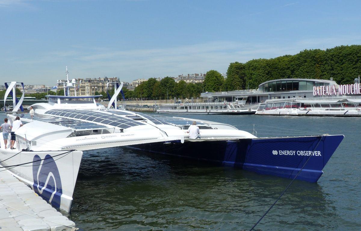 L'Energy Observer, inauguré ce jeudi 6 juillet par Nicolas Hulot, est à Paris jusqu'au 15 juillet. – O. Aribaud / 20 Minutes