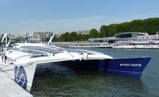 L'Energy Observer, inauguré ce jeudi 6 juillet par Nicolas Hulot, est à Paris jusqu'au 15 juillet.