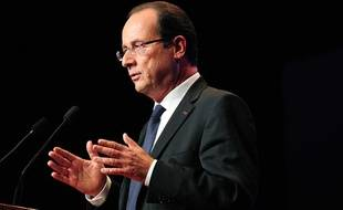 François Hollande lors de son discours du 25 octobre 2012 à l'occasion du «Grand rendez-vous de la communauté OSEO Excellence».
