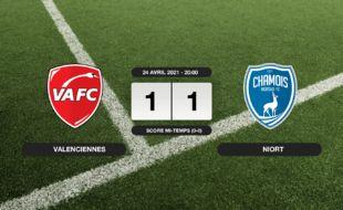 Ligue 2, 35ème journée: Match nul entre le VAFC et Niort sur le score de 1-1