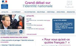 Capture-écran du site sur le Grand débat sur l'identité nationale.