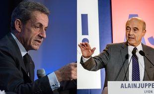 Montage photo Nicolas Sarkozy et Alain Juppé, candidats à la primaire à droite.
