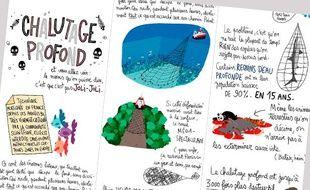 Extrait du dessin de Pénélope Bagieu sur le chalutage en eaux profondes.