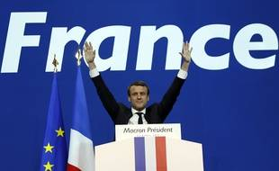 French presidential election candidate for the En Marche ! movement Emmanuel Macron delivers a speech at the Parc des Expositions in Paris, on April 23, 2017, after the first round of the Presidential election.