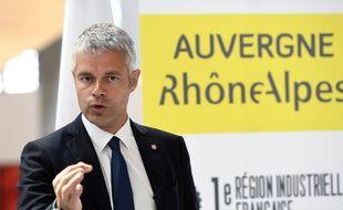 Lyon, le 15 septembre 2016. Laurent Wauquiez lors d'une conférence de presse. AFP PHOTO : PHILIPPE DESMAZES