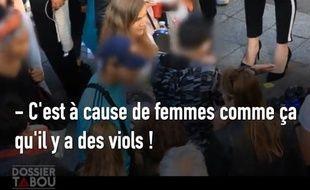 Capture d'écran d'une vidéo de «Dossier Tabou» sur le harcèlement sexuel.