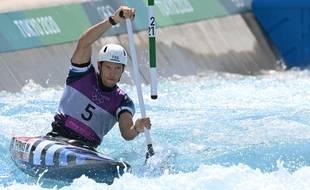 Martin Thomas lors des séries du slalom monoplace aux JO de Tokyo, le 25 juillet 2021.