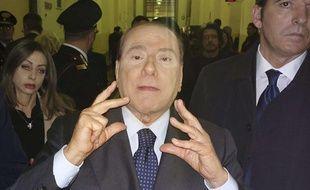 Silvio Berlusconi, le 1er mars 2013, au tribunal de Milan.